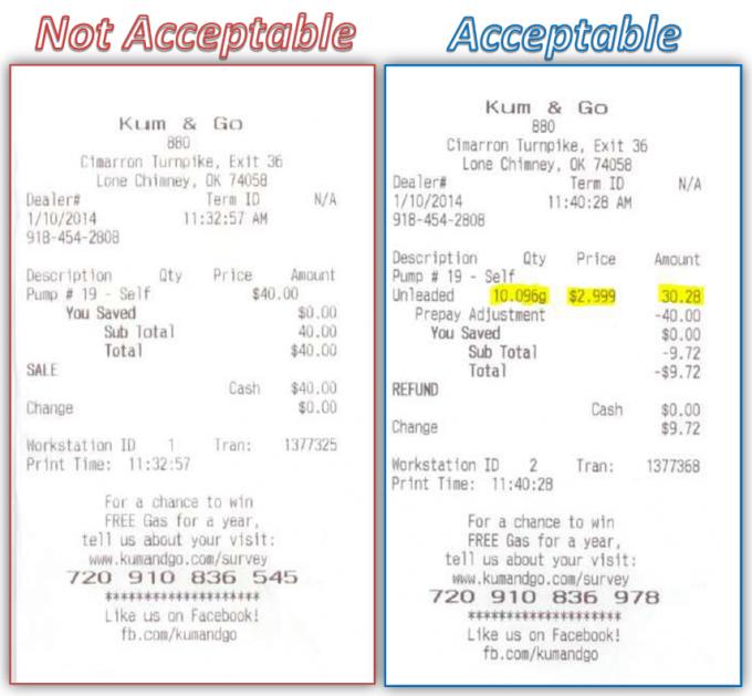 travel receipt requirements