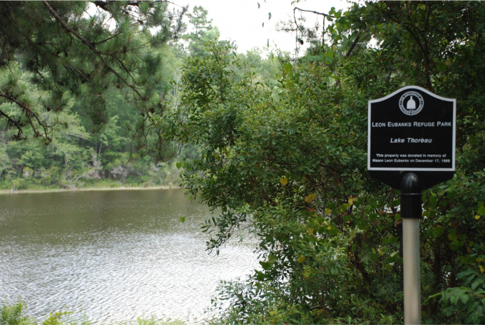 Eubanks Preserve sign by Lake Thoreau