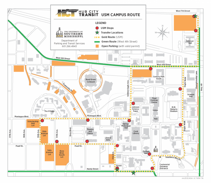 usm hattiesburg campus map Transit Stops Parking And Transit Services The University Of usm hattiesburg campus map