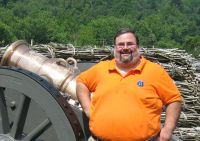 Dr. Kyle Zelner at the reconstructed, French & Indian War era Fort Ligonier in P