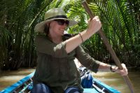 Dr. Heather Stur on the Mekong River in Vietnam