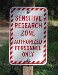 Sensitive Research Zone Sign