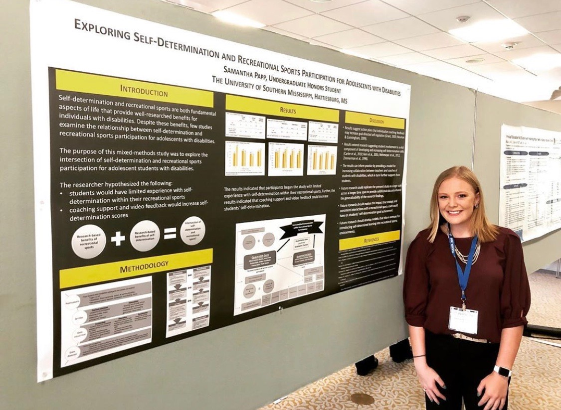 Samantha Papp (Special Education), Eagle Wings grant recipient, presenting her research poster at The 22nd International Symposium of Adapted Physical Activity 2019.